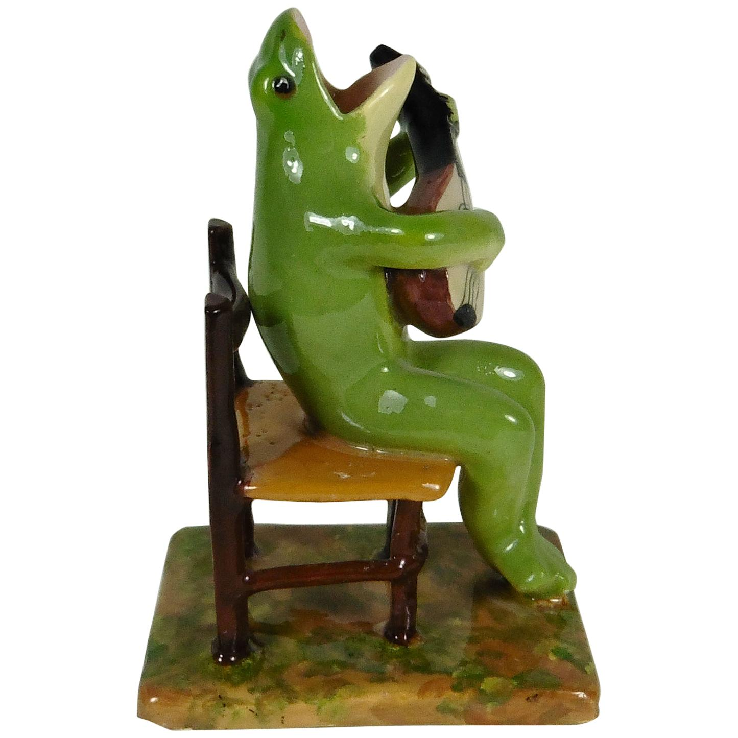 Gentil Rare Majolica Frog Sitting On A Chair Jerome Massier, Circa 1910