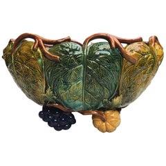 Rare Majolica Jardinière Squash, Grape and Leaves Wilhelm Schiller & Son