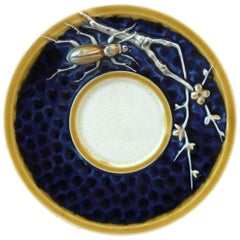 Rare Majolica Pin Tray with Insect and Branches Choisy Le Roi, circa 1890