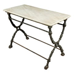 Rare Marble Bistro Table from France, circa 1920