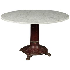 Rare Marble Dining Table With Iron Base, circa 1920