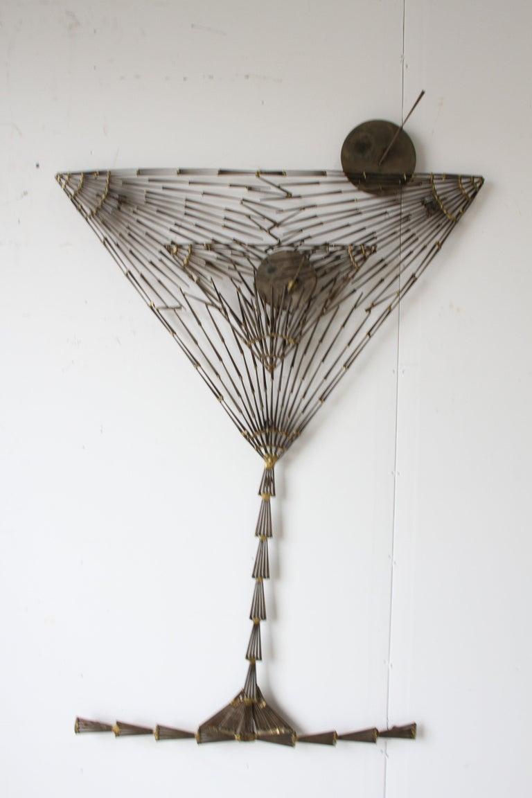 Rare Marc Weinstein Mid-Century Modern Brutalist Nail Sculpture of Martini Glass For Sale 3