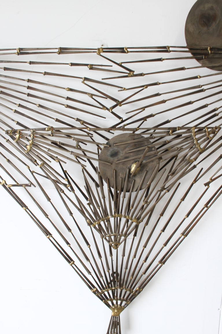 American Rare Marc Weinstein Mid-Century Modern Brutalist Nail Sculpture of Martini Glass For Sale