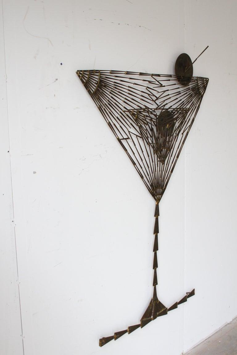 Welded Rare Marc Weinstein Mid-Century Modern Brutalist Nail Sculpture of Martini Glass For Sale