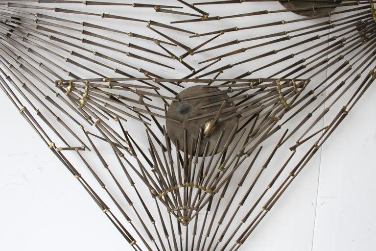 Cut Steel Rare Marc Weinstein Mid-Century Modern Brutalist Nail Sculpture of Martini Glass For Sale