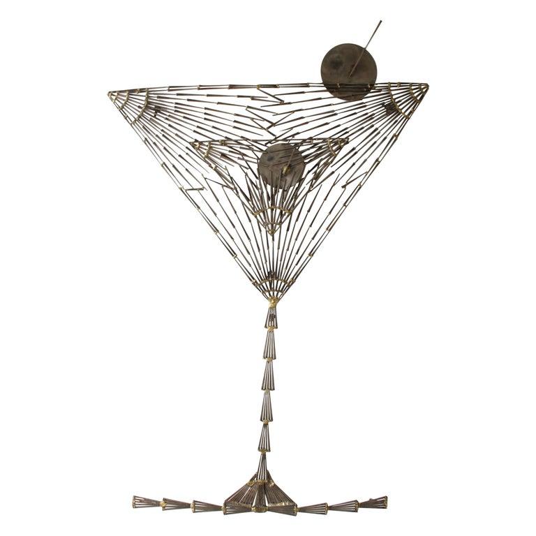 Rare Marc Weinstein Mid-Century Modern Brutalist Nail Sculpture of Martini Glass For Sale