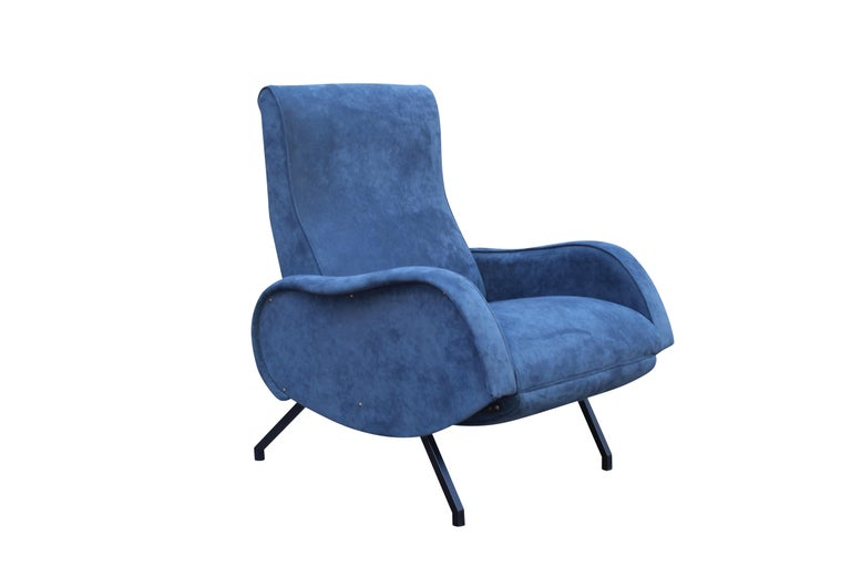 Rare Marco Zanuso Recliner armchair blue alcantara
