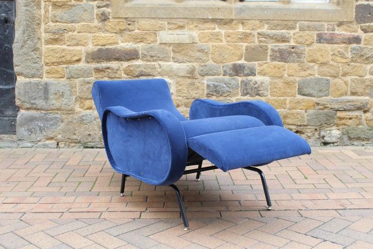 Rare Marco Zanuso Recliner Armchair Blue Velvet