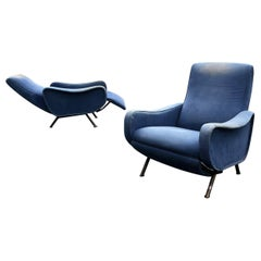 Rare Marco Zanuso Reclining Lady Chairs, Italy, 1960s, reupholstered in COM