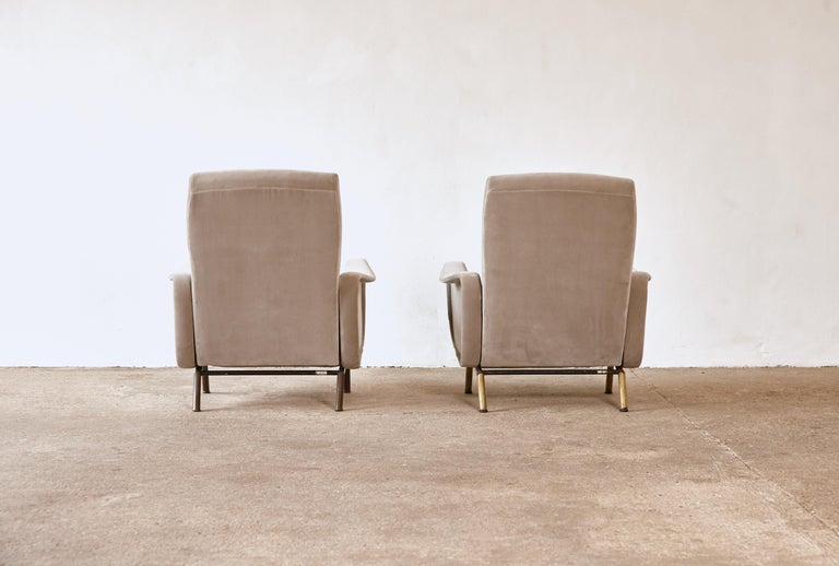 Brass Rare Marco Zanuso Reclining Lady Chairs, Pizetti Roma, Italy, 1960s For Sale