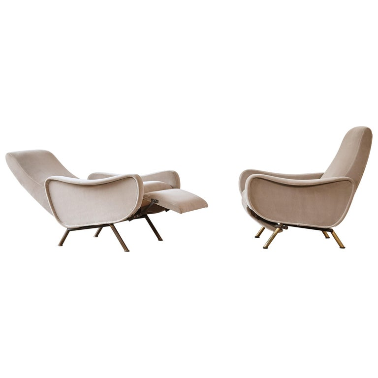 Rare Marco Zanuso Reclining Lady Chairs, Pizetti Roma, Italy, 1960s For Sale