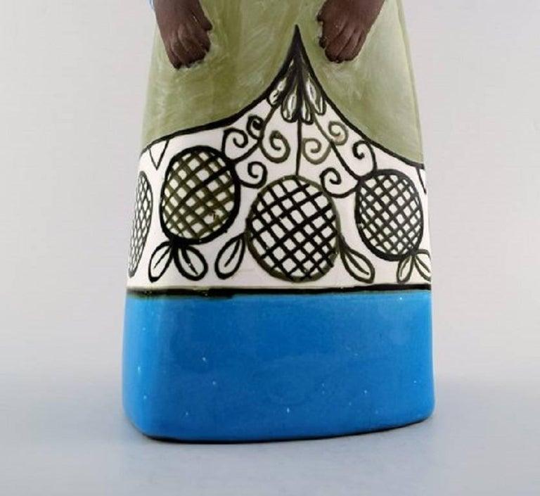 Mid-20th Century Rare Mari Simmulson Figure of Woman, Ceramics, Upsala-Ekeby For Sale