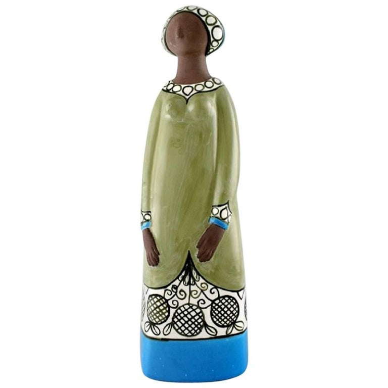 Rare Mari Simmulson Figure of Woman, Ceramics, Upsala-Ekeby For Sale