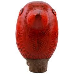 Rare Mari Simmulson for Upsala Ekeby, Figure of Bird, Red Glazed Ceramic