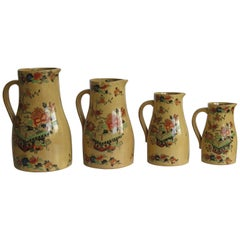 Rare Mason's Ironstone Graduated Set of 4 Jugs or Pitchers Flower Box Ptn C 1840