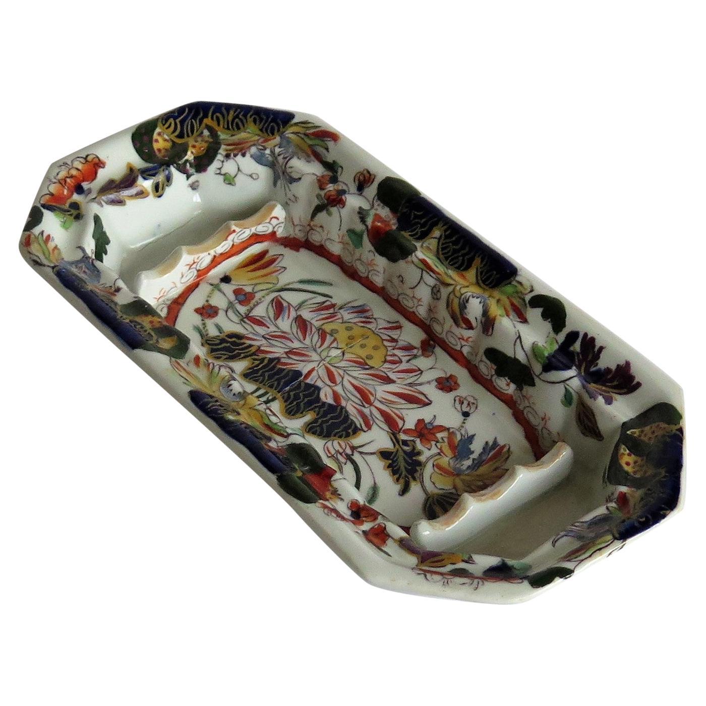 Rare Mason's Ironstone Pen Tray or Dish in Water Lily Pattern, circa 1830