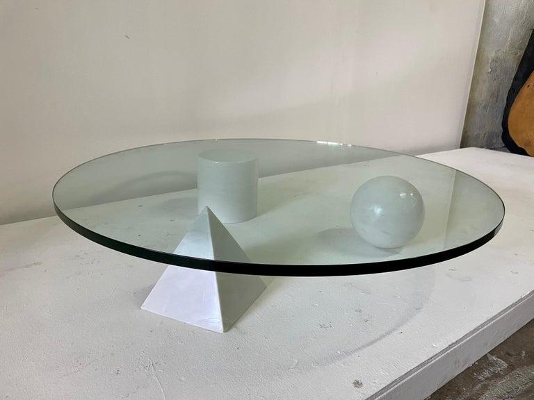 Italian Rare Massimo & Lella Vignelli 'Metaphora' White Marble Base Cocktail Table For Sale