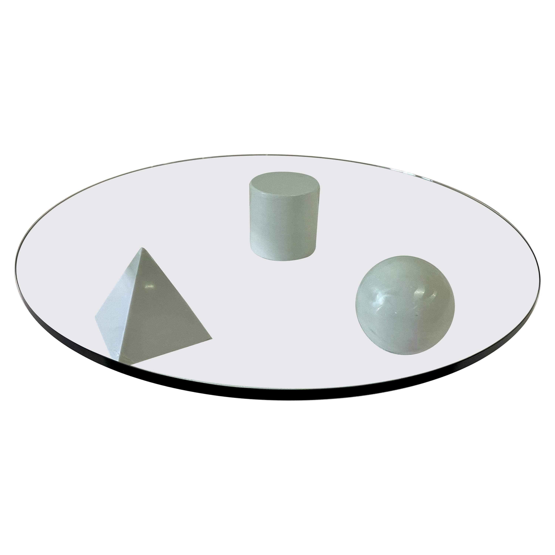Rare Massimo & Lella Vignelli 'Metaphora' White Marble Base Cocktail Table