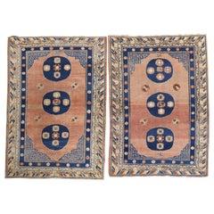 Rare Matching Pair of Antique Khotan Carpets