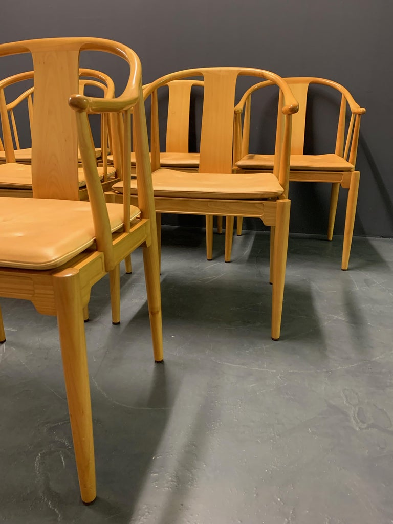 Late 20th Century Rare Matching Set of 6 Chinese Dining Chairs by Hans Wegner For Sale