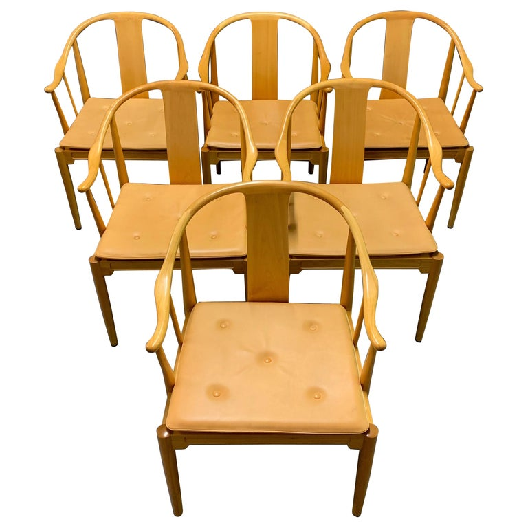 Rare Matching Set of 6 Chinese Dining Chairs by Hans Wegner For Sale