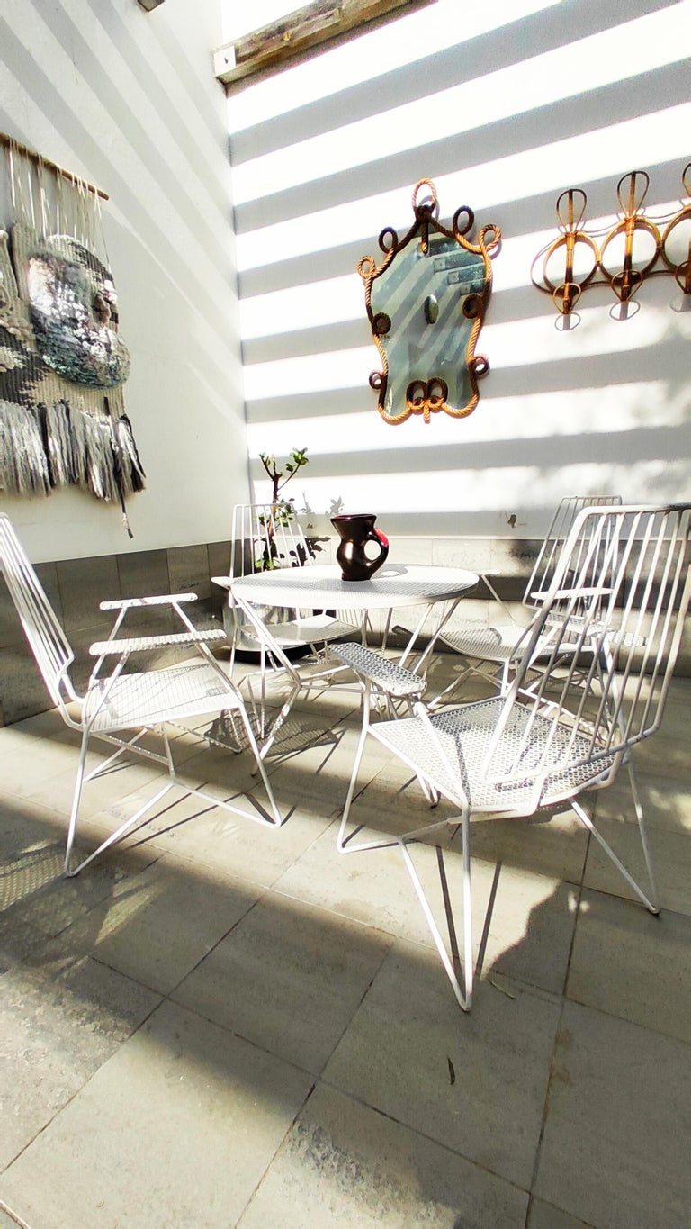 French Rare Mathieu Matégot Set of Iron Low Armchairs and Table, France, 1950s For Sale