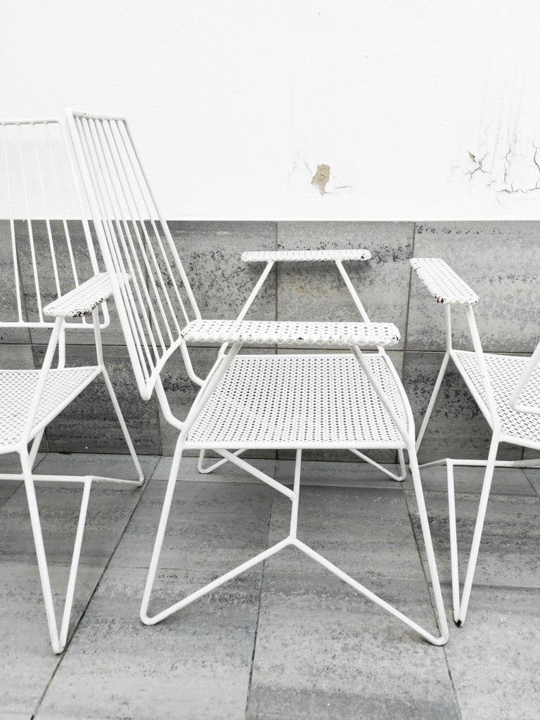 Rare Mathieu Matégot Set of Iron Low Armchairs and Table, France, 1950s In Good Condition For Sale In L'Escala, ES