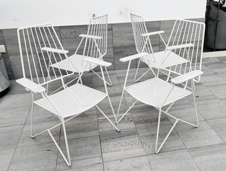 Rare Mathieu Matégot Set of Iron Low Armchairs and Table, France, 1950s For Sale 2