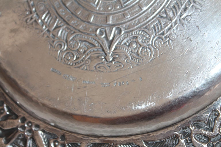 Rare Mayan Indian with Aztec Mexican Design Sterling Silver Dish, 925/1000 For Sale 5