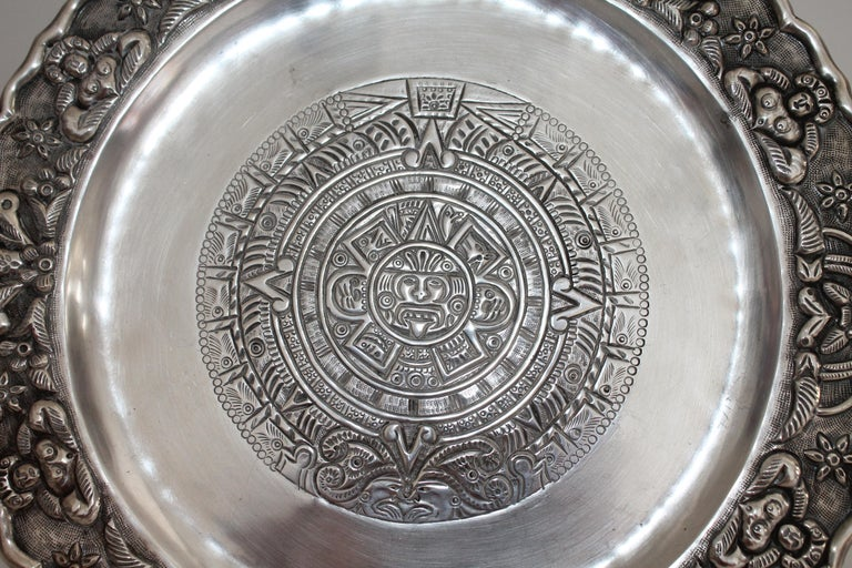 Modern Rare Mayan Indian with Aztec Mexican Design Sterling Silver Dish, 925/1000 For Sale