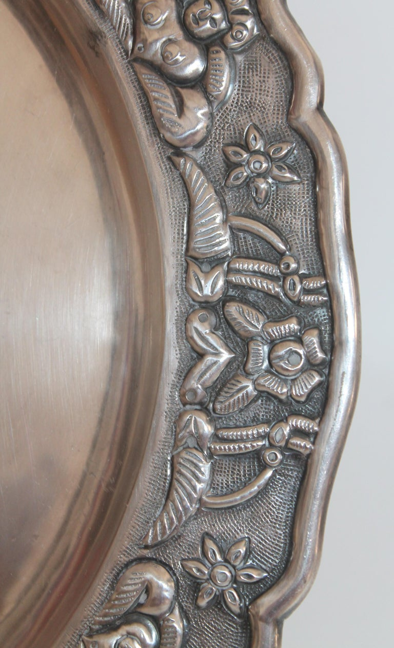 Rare Mayan Indian with Aztec Mexican Design Sterling Silver Dish, 925/1000 In Good Condition For Sale In Los Angeles, CA