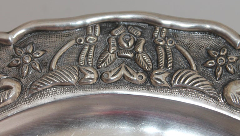 20th Century Rare Mayan Indian with Aztec Mexican Design Sterling Silver Dish, 925/1000 For Sale