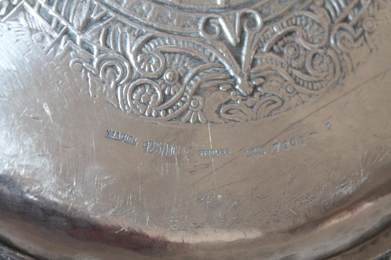 Rare Mayan Indian with Aztec Mexican Design Sterling Silver Dish, 925/1000 For Sale 2