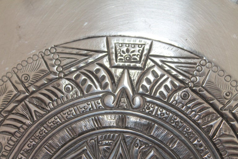 Rare Mayan Indian with Aztec Mexican Design Sterling Silver Dish, 925/1000 For Sale 3