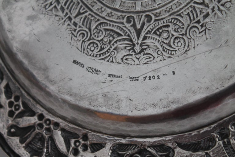 Rare Mayan Indian with Aztec Mexican Design Sterling Silver Dish, 925/1000 For Sale 4