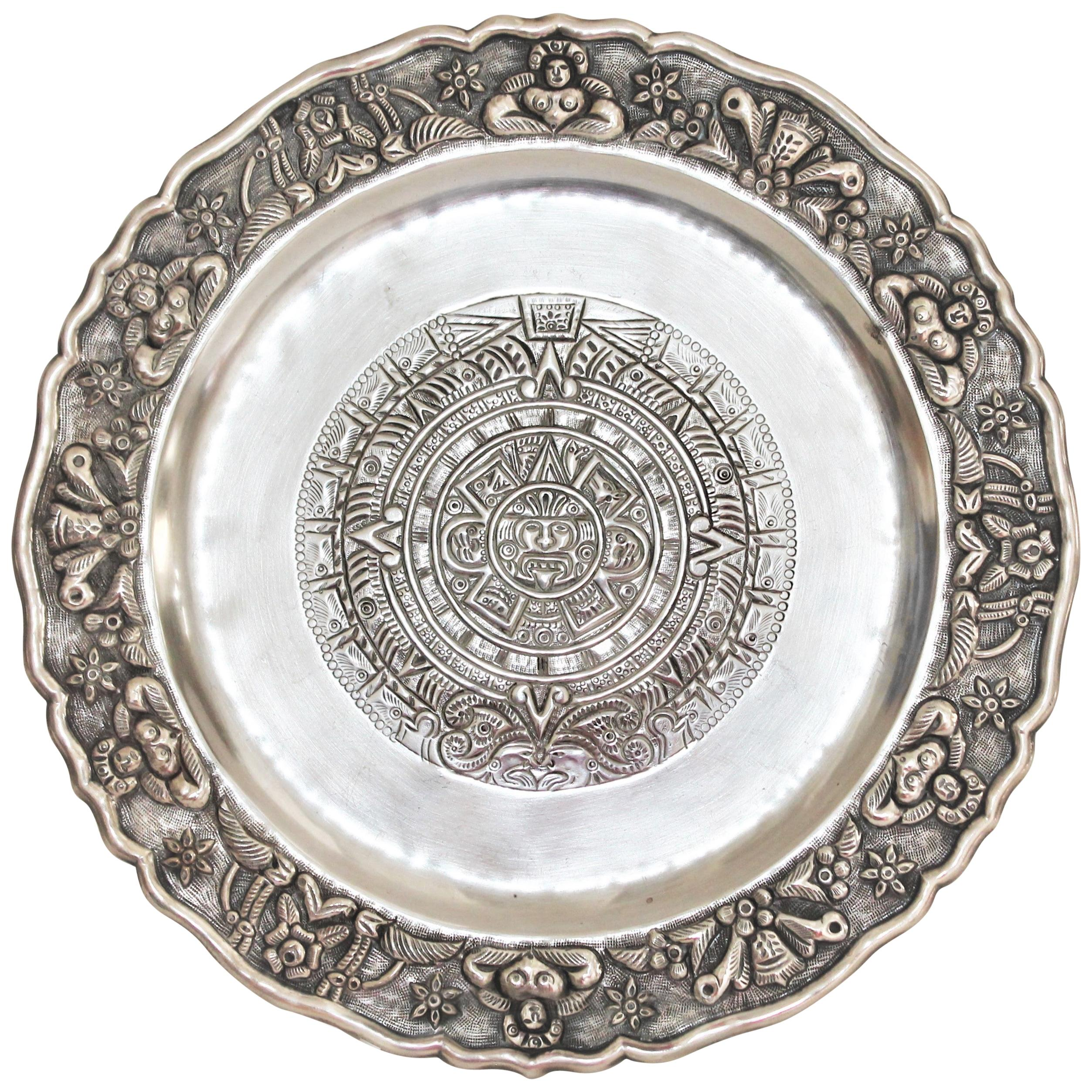 Rare Mayan Indian with Aztec Mexican Design Sterling Silver Dish, 925/1000