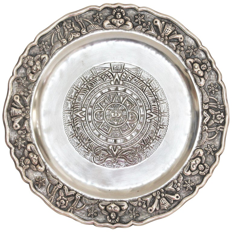 Rare Mayan Indian with Aztec Mexican Design Sterling Silver Dish, 925/1000 For Sale