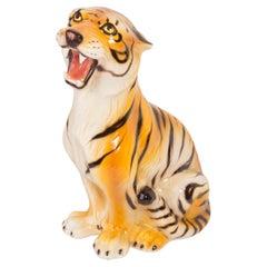 Rare Medium Tiger Ceramic Sculpture, Italy, 1960s