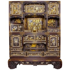 Rare Meiji Period Japanese Lacquer Cabinet