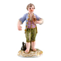 Rare Meissen Miniature Figure after Johann Joachim Kändler, Boy with Falcon