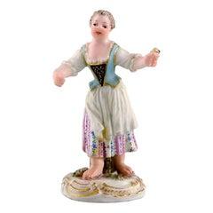 Rare Meissen Miniature Figure after Johann Joachim Kändler, Girl with Flowers