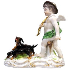 Rare Meissen Porcelain Group of Cupid and Dachshund, 19th Century