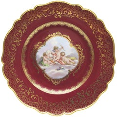Rare Meissen Porcelain Plate with Playing Puttis and Pigeons in Red