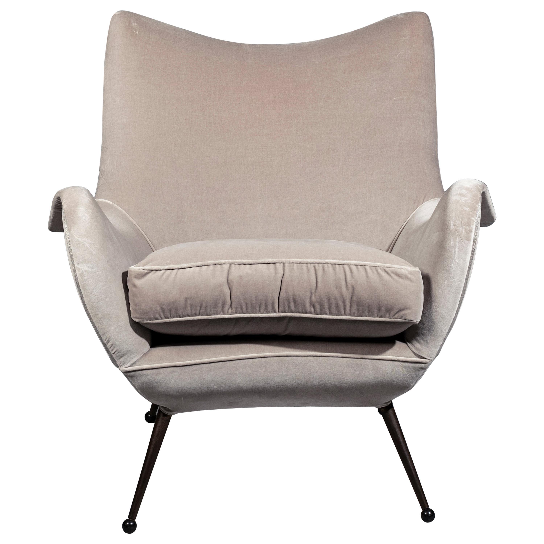 Rare Melchiorre Bega Lounge Chair, 1950s, in Lelievre Velvet