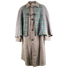 Men's Harris Wool Tweed Tartan Inverness Cape Coat, 1950s