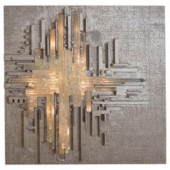 Rare Metal and Glass Illuminated Wall Sculpture