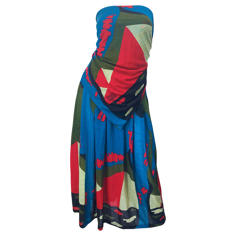 Rare Michaele Vollbracht Spring 1979 Abstract Print Bandeau Skirt Ensemble Dress