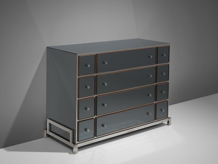 Michel Pigneres, chest of drawers, brass, chrome-plated steel, mirror, circa 1968.  This exquisite cabinet is designed by the French designer Michel Pigneres. The cabinet is an exquisite example of refined, highly detailed and well-made made. The