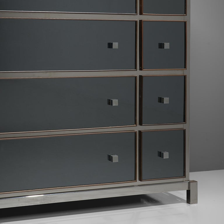 Mid-20th Century Rare Michel Pigneres Large Mirrored Chest of Drawers For Sale