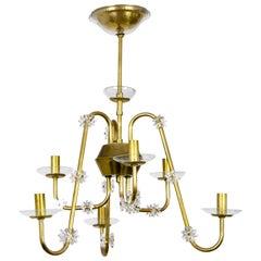 Rare Mid Century Brass & Glass Undulating 6-Arm Chandelier